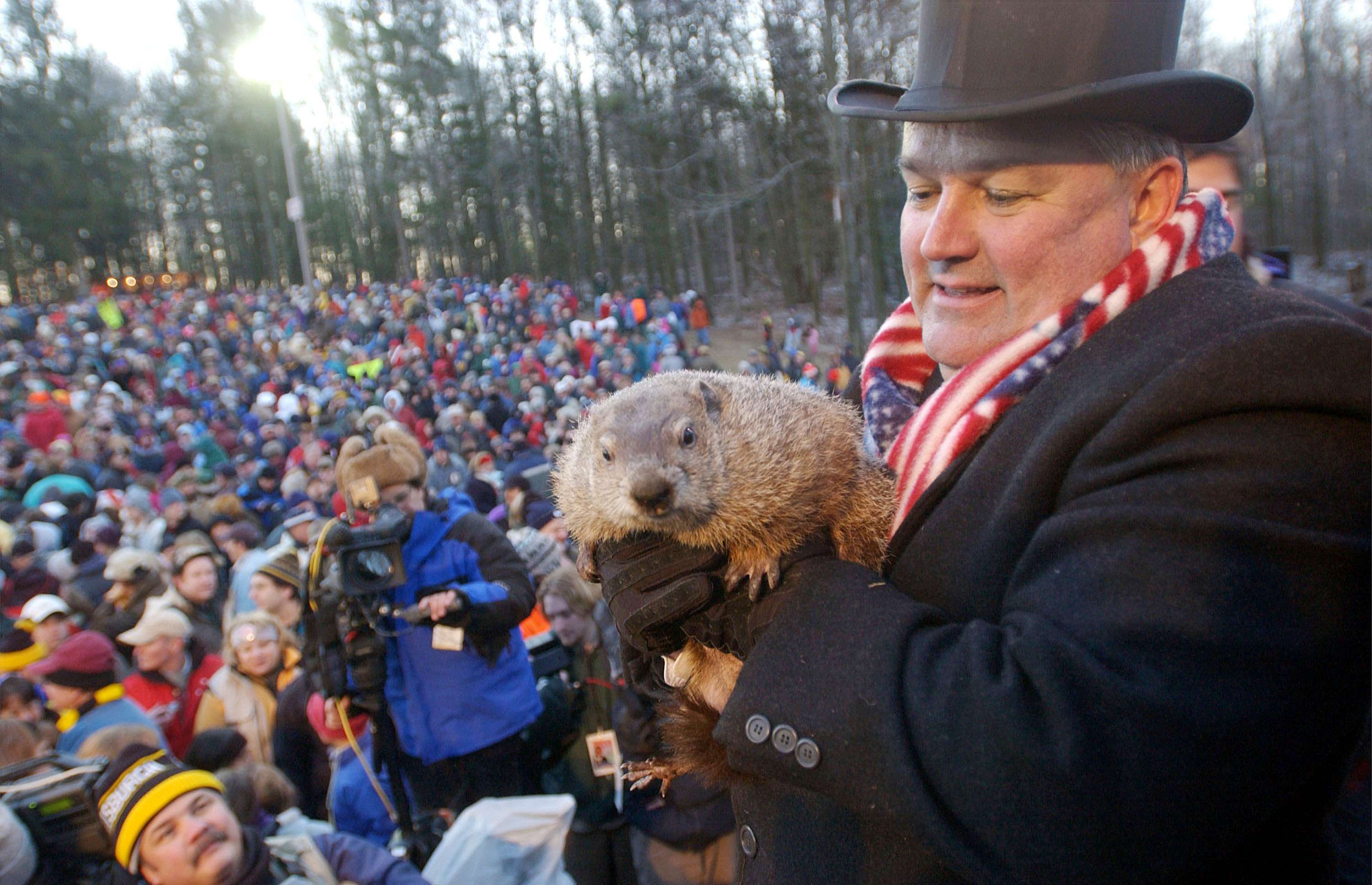 Groundhog handler Bill Deeley and Punxsutawney,Phi