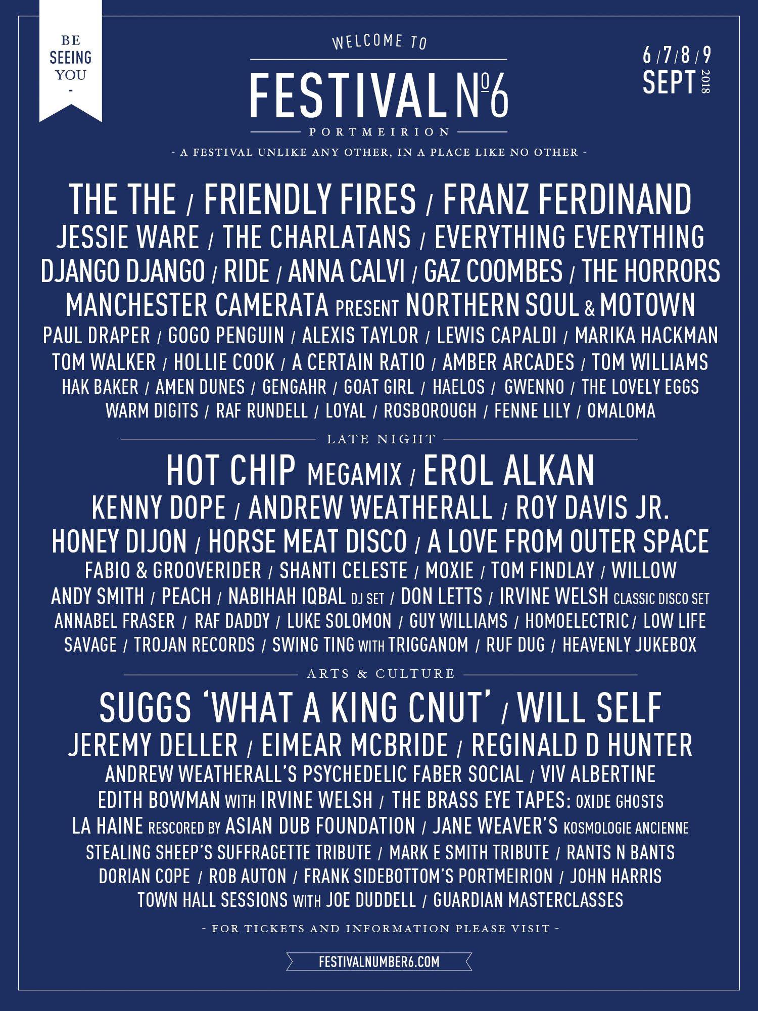 Festival No. 6 line-up 2018