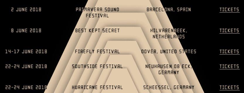 Arctic Monkeys Wesbite Festival dates so far