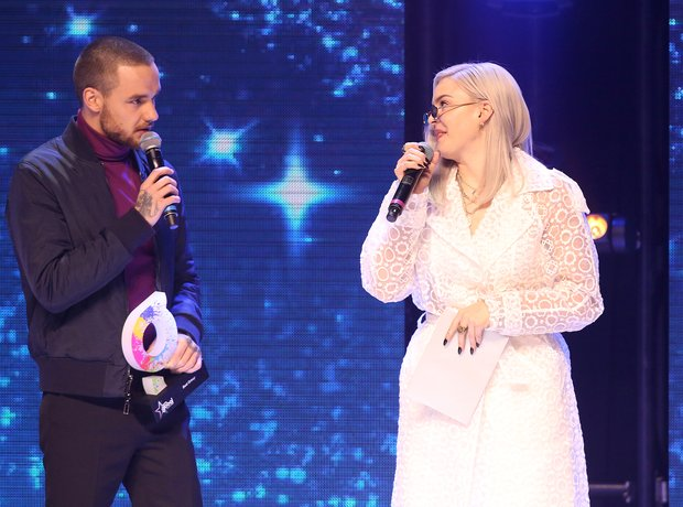 Liam Payne and Anne-Marie on stage during The Glob