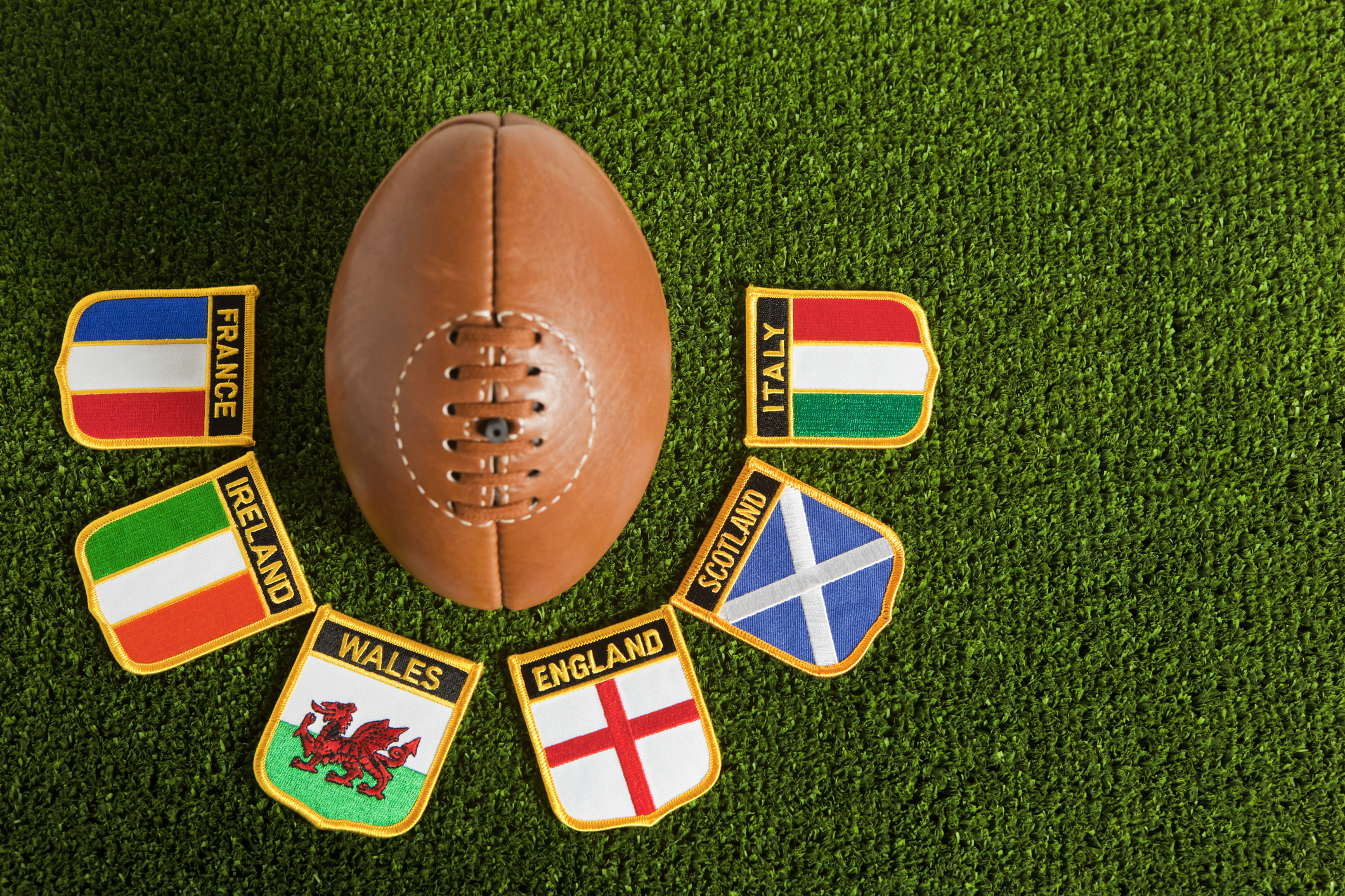 Six Nations rugby ball stock image