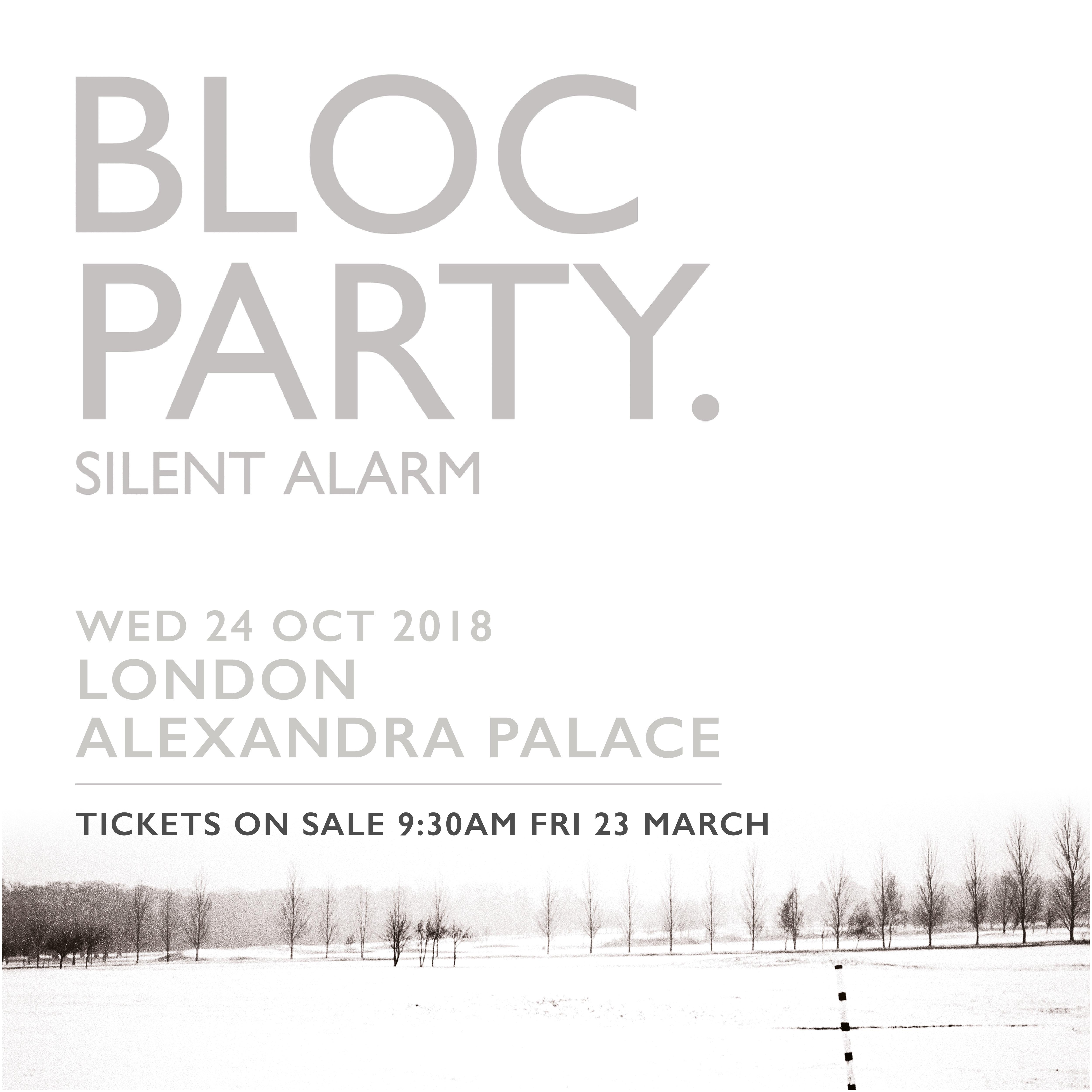 Bloc Party Alexandra Palace poster