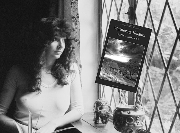 Kate Bush with a copy of Emily Bronte's Wuthering